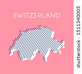 striped pink map of switzerland | Shutterstock .eps vector #1511340005