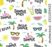 summer seamless pattern. text...