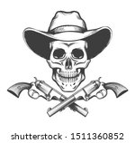 skull in a western hat and a... | Shutterstock .eps vector #1511360852