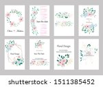 set of cards with roses leaves... | Shutterstock .eps vector #1511385452