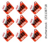 red sale tags and stickers with ... | Shutterstock .eps vector #151138718