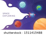 space ship exploring solar... | Shutterstock .eps vector #1511415488