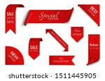 set of red sale ribbon banner....   Shutterstock .eps vector #1511445905