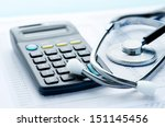 health care costs. stethoscope... | Shutterstock . vector #151145456