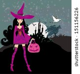 illustration of witch with... | Shutterstock .eps vector #151156226