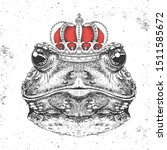 Hipster Animal Frog In Crown....