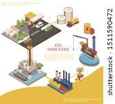 isometric petroleum industry... | Shutterstock .eps vector #1511590472