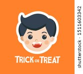 face of kid in halloween fancy...   Shutterstock .eps vector #1511603342