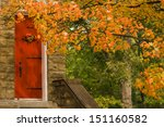 Red Church Door And Fall Tree...