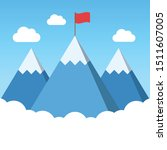 mountain peak with flag ... | Shutterstock .eps vector #1511607005