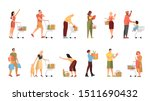 people walking with shopping... | Shutterstock .eps vector #1511690432