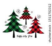 buffalo plaid christmas trees.... | Shutterstock .eps vector #1511702312