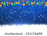 christmas lighting with snow... | Shutterstock . vector #151176698