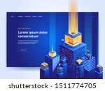 smart architecture blue landing ... | Shutterstock .eps vector #1511774705