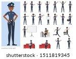 set of police working character ... | Shutterstock .eps vector #1511819345