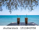 Table At Cafe At The Beach Wit...