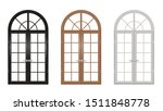 Set Of Classic Arched Wooden...