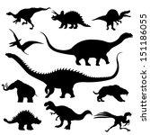 dinosaur silhouettes against... | Shutterstock . vector #151186055