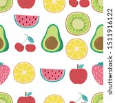 cute fruit background with... | Shutterstock .eps vector #1511916122