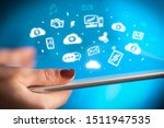hand holding tablet with social ... | Shutterstock . vector #1511947535