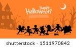 happy halloween. children in... | Shutterstock .eps vector #1511970842