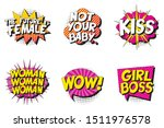 set of feminist slogans in... | Shutterstock .eps vector #1511976578