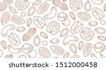 Nut Seamless Pattern With Flat...