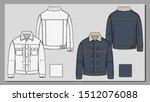 denim vintage jacket sketch...   Shutterstock .eps vector #1512076088
