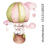Stock photo watercolor cute kids illustration of hare on a balloon hand drawn clipart with cute hare clouds 1512118025