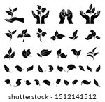 hand holding leaves. leaf icons ... | Shutterstock .eps vector #1512141512