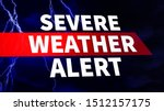 Severe Weather Alert. Warning caution danger notification. White text on blue background with dark clouds and scary lightning strikes. Communication and risk concept. Image for Article, Post, Website - stock photo