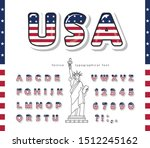 usa cartoon font. united states ... | Shutterstock .eps vector #1512245162