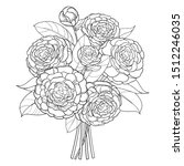 vector bouquet with outline... | Shutterstock .eps vector #1512246035