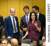 Small photo of New York, NY - September 23, 2019: Stephen Miller and Stephanie Grisham attend UN global call to protect religious freedom meeting at UN Headquarters