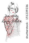 fashion sketch drawing girl... | Shutterstock .eps vector #151239236