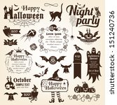 set of halloween decorative... | Shutterstock .eps vector #151240736