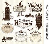 set of halloween decorative... | Shutterstock .eps vector #151240742