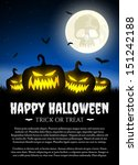 halloween pumpkins on grass... | Shutterstock .eps vector #151242188