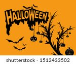 happy halloween card. drip text ... | Shutterstock . vector #1512433502