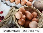 Many Eggs In A Wicker Basket....