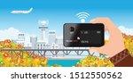 human holding hotspot pocket wi ... | Shutterstock .eps vector #1512550562