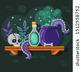 magic potion bottle and recipe... | Shutterstock .eps vector #1512558752