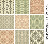 set of nine seamless pattern in ... | Shutterstock .eps vector #151256978