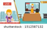 flat tv news concept with... | Shutterstock .eps vector #1512587132