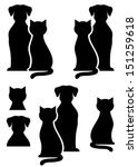Stock photo black isolated dog and cat silhouette on white background 151259618
