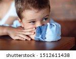 Little Boy Sitting Worried  Sad....