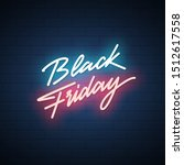 black friday neon signboard.... | Shutterstock .eps vector #1512617558