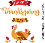 thanksgiving cute turkey with... | Shutterstock .eps vector #1512634922