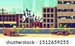 zombie apocalypse in city... | Shutterstock .eps vector #1512659255