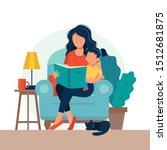mom reading for kid. family... | Shutterstock .eps vector #1512681875